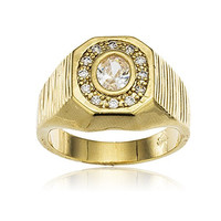 Men's Gold Layered Iced Out Octagon with Round Stone Finger Ring Sizes 9-12