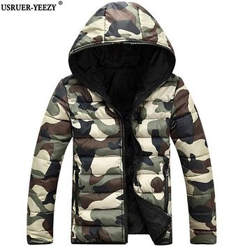 USRUER-YEEZY Men's Clothing Spring Autumn Camouflage Jackets Men Hooded Cotton Down Jacket Male Fashion Casual College Camo Coat