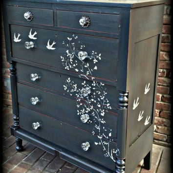Distressed dresser, shabby chic dresser, stenciled dresser, 6 drawer dresser, Rustic dresser,  antique dresser, painted dresser, gray