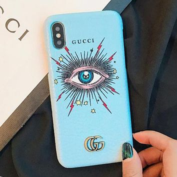 GUCCI New Popular Women Men Personality Leather Blue Eye Pattern Mobile Phone Cover Case For iphone 6 6s 6plus 6s-plus 7 7plus iPhone8 iPhone X Blue I13652-1
