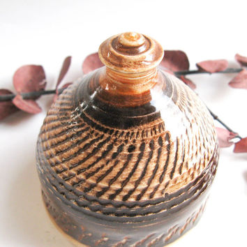 Stopperless Ceramic Salt Shaker in Chocolate Brown - handthrown pottery