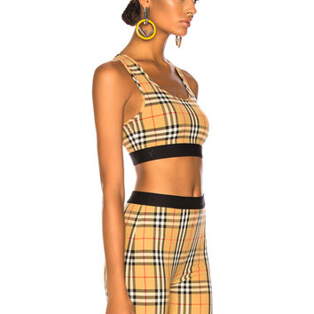 Burberry Dalby Bra Top in Antique Yellow Check | FWRD