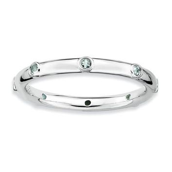 Sterling Silver Stackable Expressions Light Aquamarine Ring