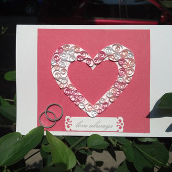 Handmade Card, Paper Quilled Card, Heart and Rings - engagement card, wedding card, anniversary card, love card, paper quilling card