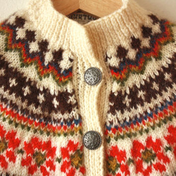 Norwegian Fair Isle Wool Vintage Sweater Multicolor Cardigan Womens XS - S