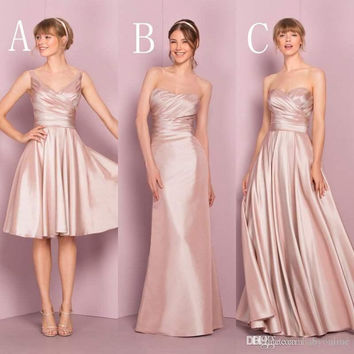 2017 Blush Pink Cheap Satin Bridesmaid Dresses V-neck Three Style Ruched Pleats New Wedding Guest Dresses BD186