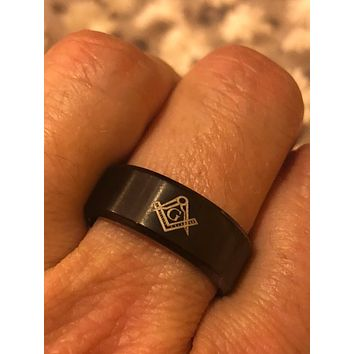 Vintage 1980's Gothic Black Rhodium Stainless Steel Free Mason G Men's Band Ring