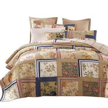 Tache 3-5 Piece Cotton Japanese Emperor's Garden Patchwork Quilt Set (DXJ100076)