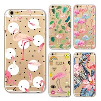 New Fashion Soft Colorful Flamingo Case Cover For Iphone 6 6s 6Plus 7 7s 7plus Transparent TPU Silicone Phone Cases Fundas Capa