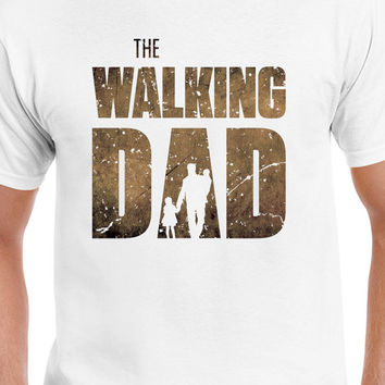 The Walking Dad T-Shirt The Walking Dead Inspired Funny Parody Mens Brown Logo T-Shirt