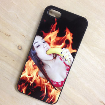 SASHA GREY 2 HOT 4 U sexy flames fire cyber grunge 90s pr0n internet celebrity tumblr star club kid rave seapunk cybrfm iPhone case
