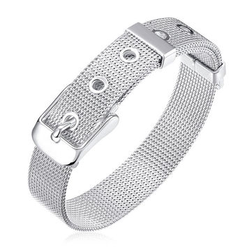 14MM Watch Band Men Bracelet 2017 Hot New Fashion Bracelet 925 Sterling Silver Jewelry Women Wedding Bracelet Pulseira