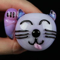 UV Glow Kitty Cat Face Pink Slyme Cobalt design Hand Blown Glass Pipe
