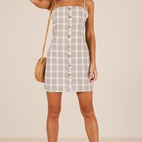 Shining Armour dress in grey check Produced By SHOWPO