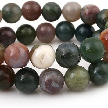 8mm Round Indian Agate Gemstone Beads