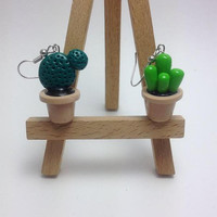 Cactus Earrings in a Pot, Mismatched, Polymer Clay Earrings, Handmade, Kawaii Jewelry, Green, Plants Earrings, Gift for Her