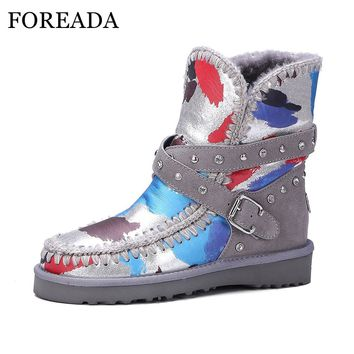 FOREADA Genuine Leather Waterproof Snow Boots Women Winter Ankle Boots Fur Plush Warm Boots Buckle Studded Shoes Platform Wedges