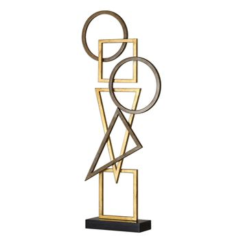 Terzo Brushed Bronze & Gold Leaf Geometric Modern Sculpture by Uttermost