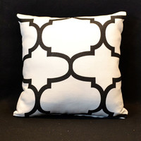 Moroccan Quatrefoil decorative throw pillows Lattice Pillows Black Pillow Trellis Pillows Designer Pillows-  Throw pillows