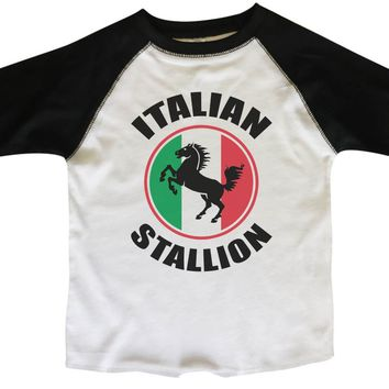 Italian Stallion BOYS OR GIRLS BASEBALL 3/4 SLEEVE RAGLAN - VERY SOFT TRENDY SHIRT B798
