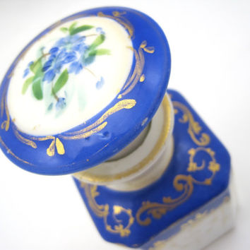 Antique Porcelain Perfume Bottle - Painted Perfume Flask with Stopper - Cobalt