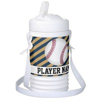 Navy Blue and Gold Personalized Baseball Igloo Coo Cooler
