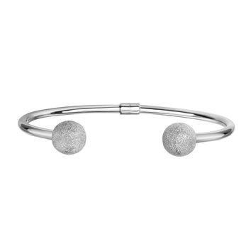 Silver Rhodium Finish 10mm Sparkle Ball Tip 3mm Round Tube Fancy Cuff Bangle with Hinge:BALLS with STARDUST FINISH!!!