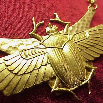 Vintage Scarab beetles Necklace Egyptian Revival Jewelry Gorgeous
