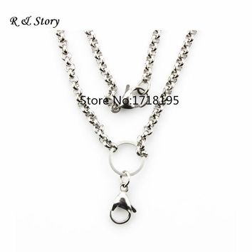 Free shipping 24 inches 4.0mm width Stainless steel rolo chain floating locket chains necklace chain LFH_047