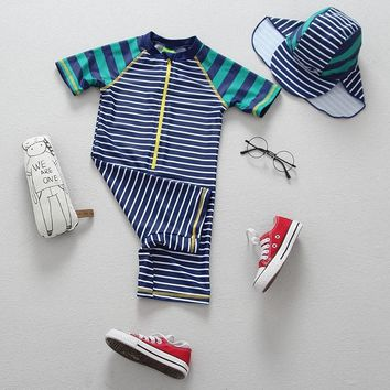 Children Swimsuit Boys Swimwear Striped Beach Wear Clothing Infantil Baby  Bathing Suit Uv Protection Suit  9-12 Months 6 Years