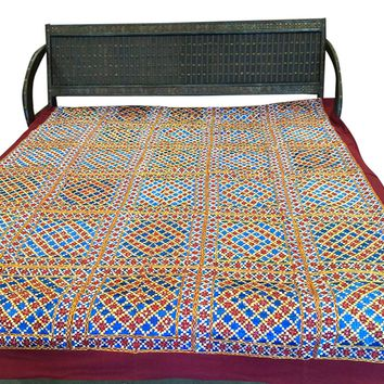 Vintage Bedspread Blue Red Hand Embroidered Tapestry Indian Bedcover Sofa Throw King: Amazon.ca: Home & Kitchen