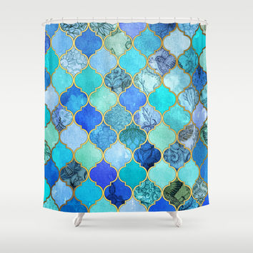 Cobalt Blue, Aqua & Gold Decorative Moroccan Tile Pattern Shower Curtain by Micklyn