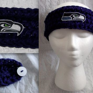 Crochet SEATTLE SEAHAWKS Blue, Green, or Multicolor Headband Ear warmer with Seahawk logo (skinny)
