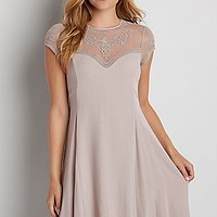 dress with embroidered yoke and short sleeves in storm cloud | maurices