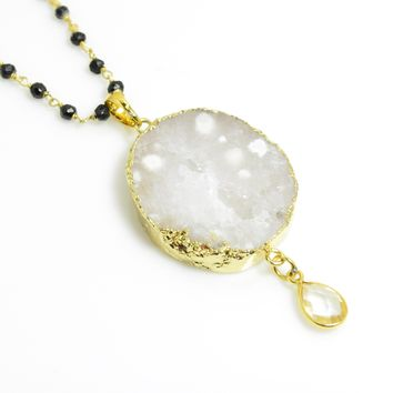 White Druzy Pendant in Gold with Quartz Teardrop