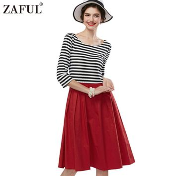 ZAFUL Summer Spring Vintage Women Retro Robe Feminino Rockabilly audrey hepburn Red Stripe Party dresses plus size Vestidos