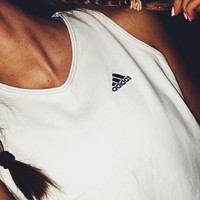 ADIDAS TANK// size M // white and navy // adidas logo tank // three stripes