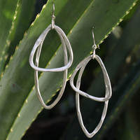 BauXo Sense Dangle Oval Oblong Earrings - Silver
