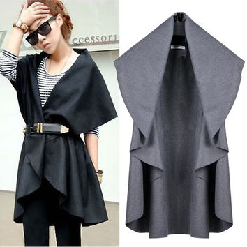 Women Turn-down Collar Cape Wool Coat Jacket Outwear Poncho Shawl Cardigan  F_F = 1902126916
