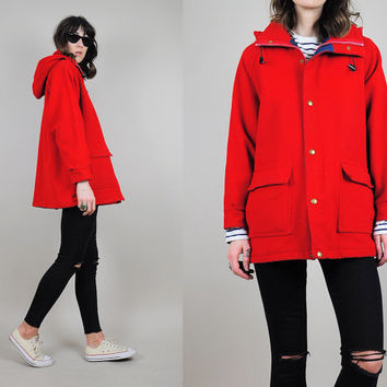 vtg WOOLRICH 80's Duffle HOODED Coat cherry red wool Spring Peacoat parka