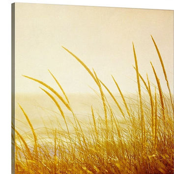 Beach Grass Canvas Wall Art Gold Sun Sand Dunes Yellow Gold Beige Orange Ivory Cream Vintage Retro Photography Coastal Decor Beach Wall Art