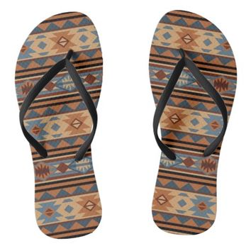 Southwest Design Gray Brown Flip Flops