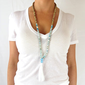 Boho Tassel Necklace - Sky Blue Agate Accents