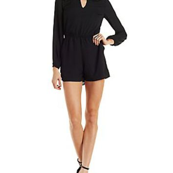 DRESS FORUM CUT-OUT LONG SLEEVE ROMPER