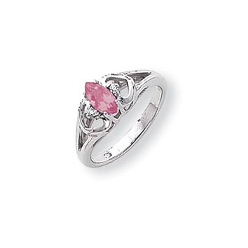 0.02 Ct  14k White Gold 7x3.5mm Marquise Pink Sapphire Diamond Ring SI2/SI3 Clarity and G/I Color