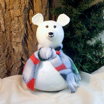 Polar bear, gourd art, painted gourd, decorated gourd, gift for Christmas, birthday, winter home decor, by Debbie Easley