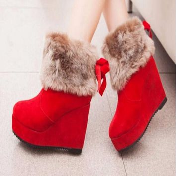 Faux Fur High Wedge Women Boots