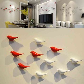 3D Birds Shape Wall Hanging Resin Metal Plating Office Home Decorations S/L New
