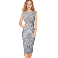 Women Elegant 3D Flower Jacquard Fabric Casual Party Evening Mother of Bride Special Occasion Sheath Bodycon Dress 1973