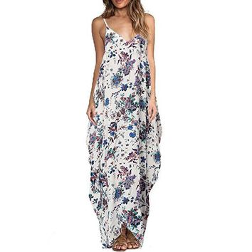 Print Floral Loose Boho Bohemian Dress Women Sexy Strap V-Neck Retro Vintage Long Maxi Dress Summer Dress 2017 Plus Size 3XL
